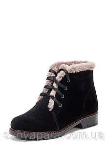 Женские зимние замшевые ботинки чёрного цвета с опушкой из натуральной шерсти