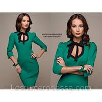 Платье зеленое трикотажное короткое, фото 1
