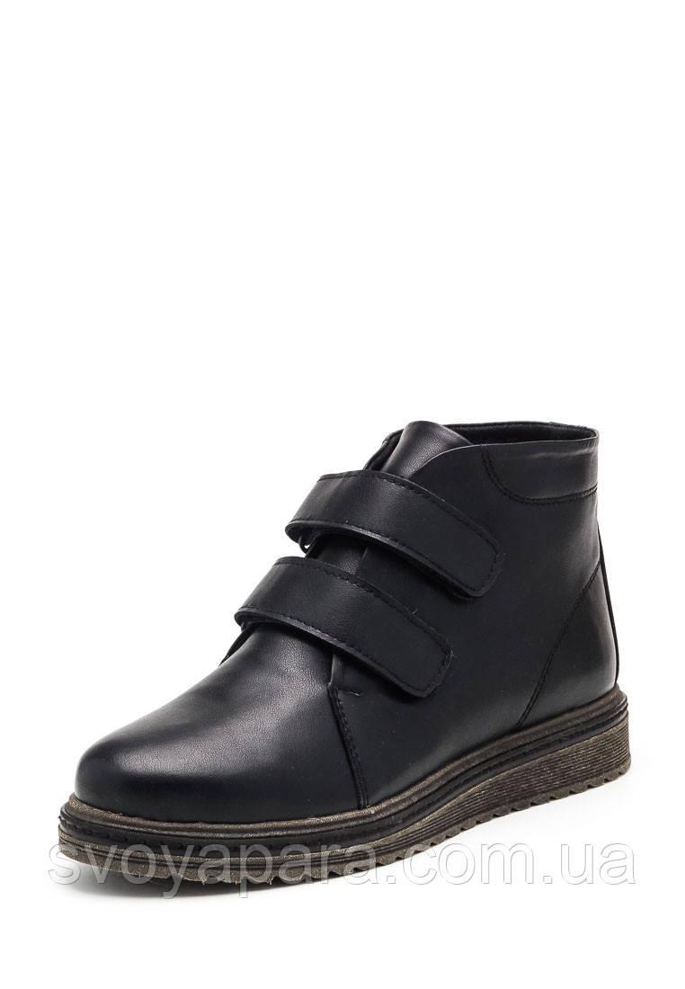 Женские зимние кожаные черные ботинки с застежками липучками на термополиэстеровой подошве