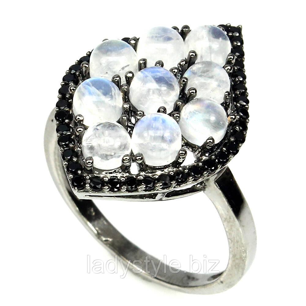 """Потрясающее кольцо с натуральным  лунным камнем и шпинелью  """"Вояж"""", размер 17,2 от студии LadyStyle.Biz"""
