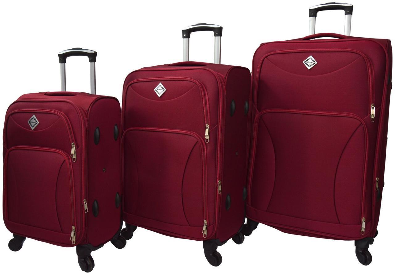 Набір дорожніх валіз на 4 колесах Bonro Tourist набір 3 штуки Вишневий