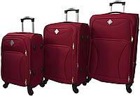 Набір дорожніх валіз на 4 колесах Bonro Tourist набір 3 штуки Вишневий, фото 1