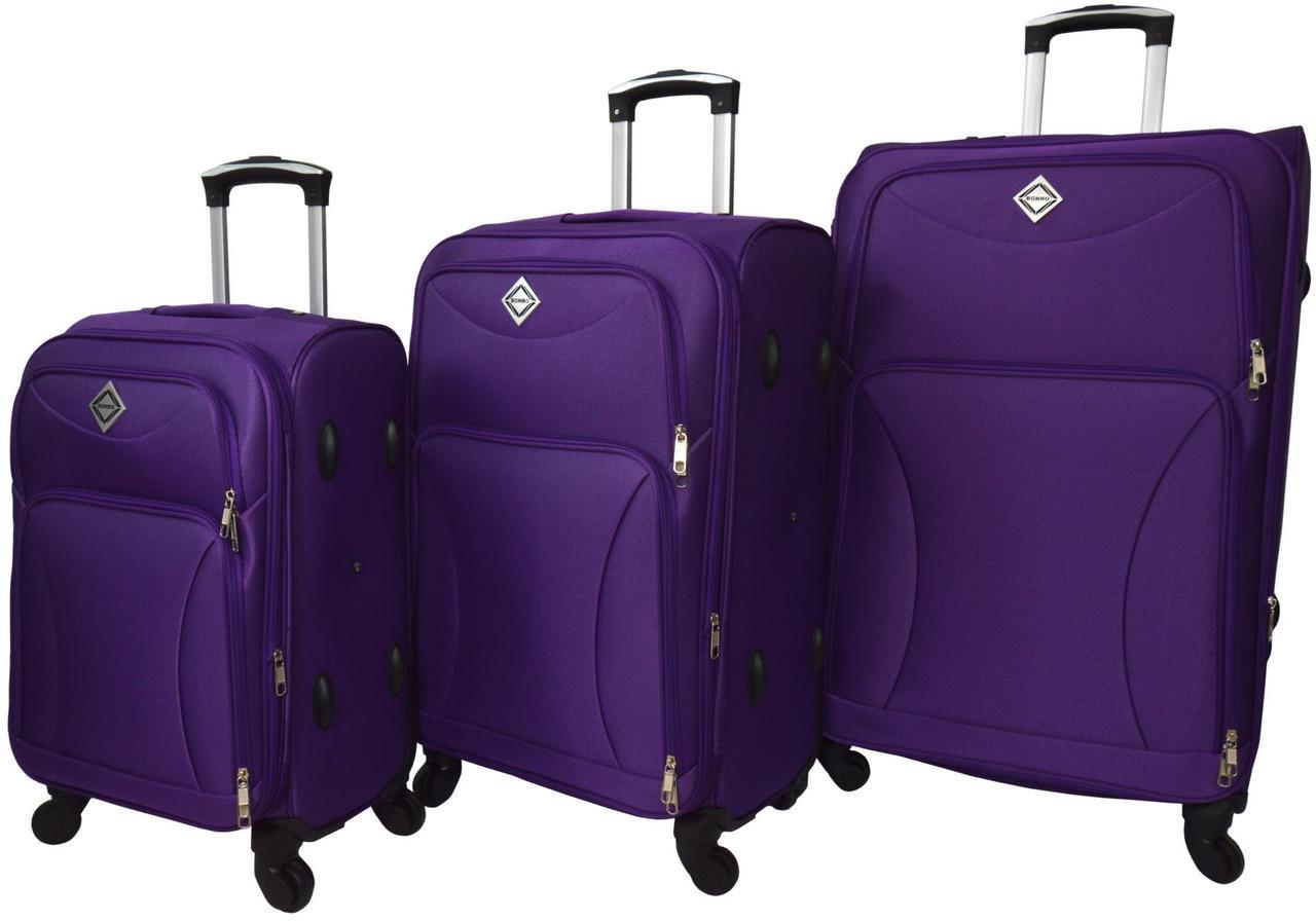 Набір дорожніх валіз на 4 колесах Bonro Tourist набір 3 штуки Фіолетовий