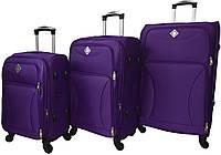 Набір дорожніх валіз на 4 колесах Bonro Tourist набір 3 штуки Фіолетовий, фото 1