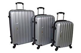 Набір дорожніх валіз на колесах Siker Line набір 3 штуки Срібний