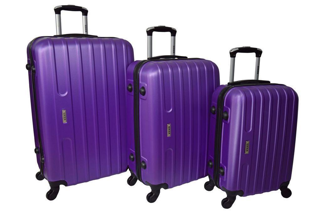 Набір дорожніх валіз на колесах Siker Line набір 3 штуки Фіолетовий