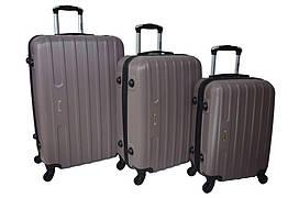 Набір дорожніх валіз на колесах Siker Line набір 3 штуки Какао