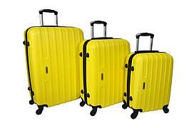 Набор дорожных чемоданов на колесах Siker Line набор 3 штуки Желтый