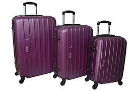 Набір дорожніх валіз на колесах Siker Line набір 3 штуки Бузковий