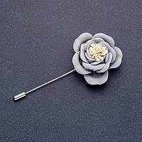 Брошь булавка цветок Чайная роза из ткани серая L-8см d- 40мм