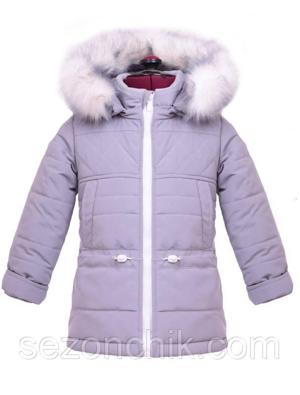 Пальто зимнее на девочку с мехом детское пуховик