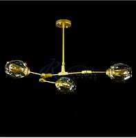 Люстра молекула  белая,золото,черная (прозрачный,серый,коньячный плафон)