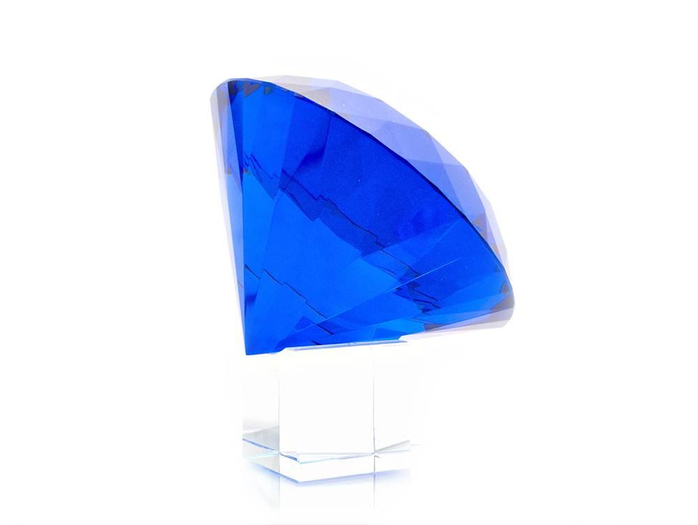 Кристалл хрустальный на подставке синий (15см)