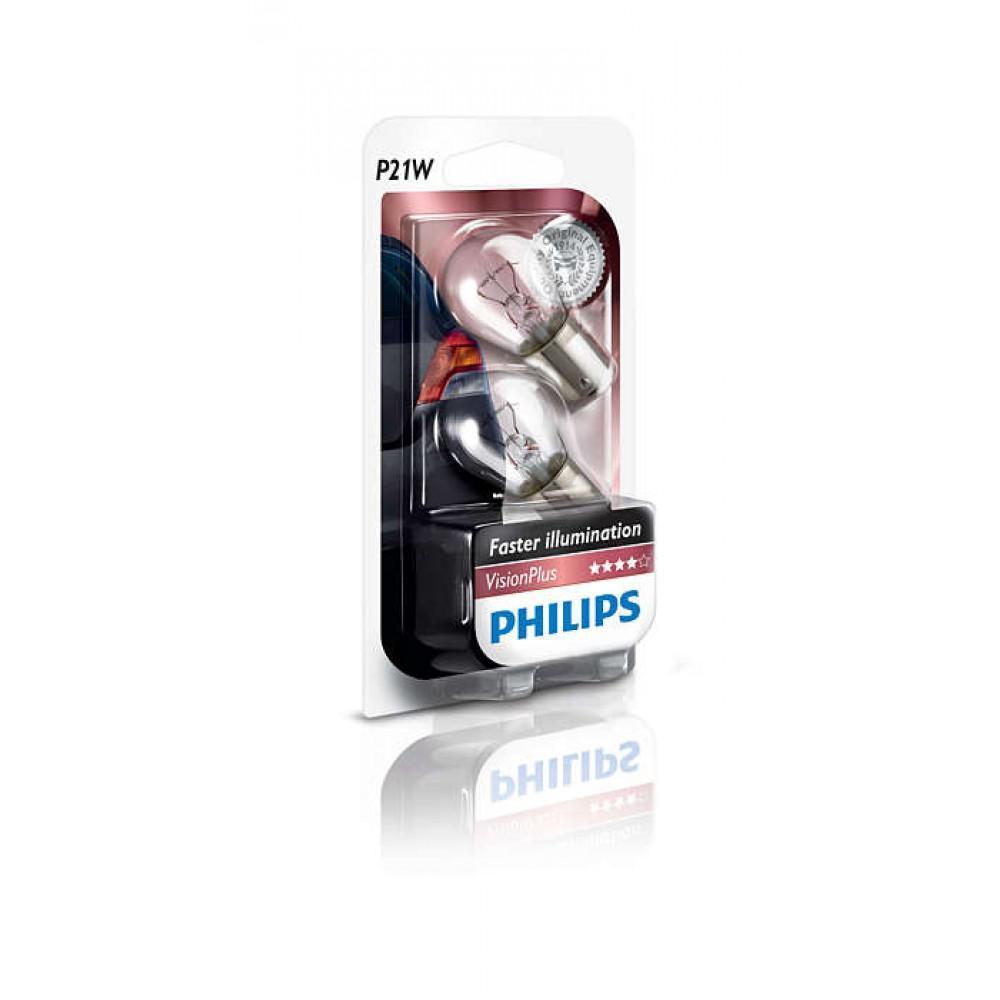 Лампа накаливания Philips P21W VisionPlus, 2шт/блистер 12498VPB2