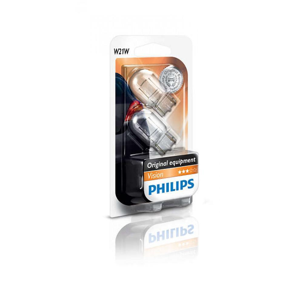 Лампа накаливания Philips W21W, 2шт/блистер 12065B2