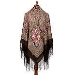 Чародейка Зима 1749-17, павлопосадский платок шерстяной (двуниточная шерсть) с шелковой вязаной бахромой, фото 3