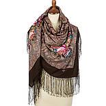 Чародейка Зима 1749-17, павлопосадский платок шерстяной (двуниточная шерсть) с шелковой вязаной бахромой, фото 2