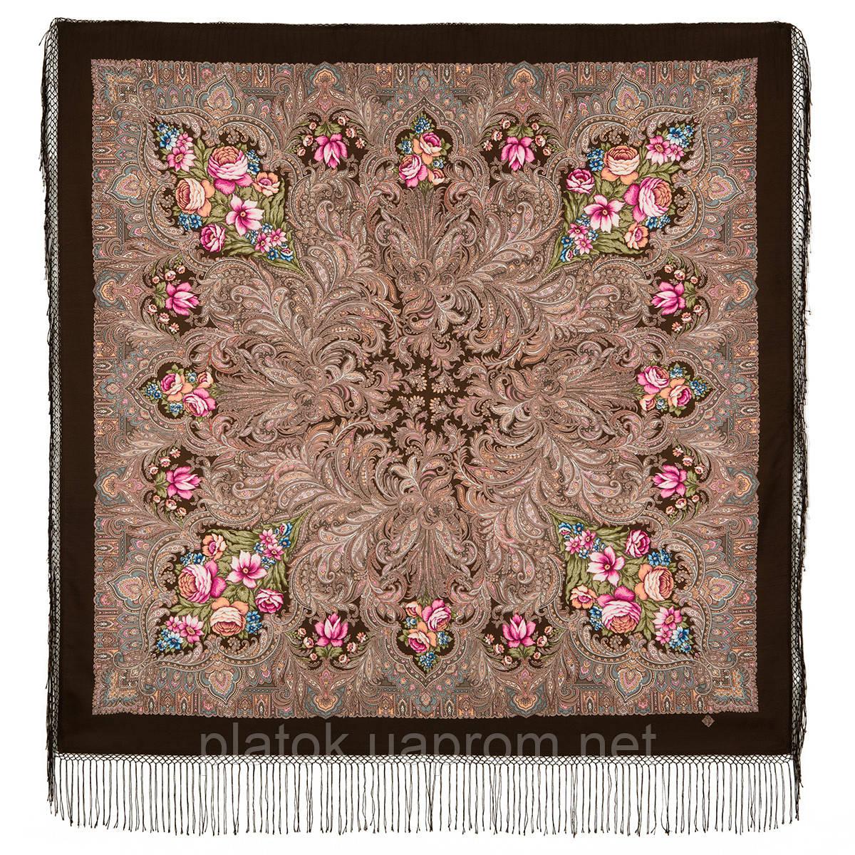 Чародейка Зима 1749-17, павлопосадский платок шерстяной (двуниточная шерсть) с шелковой вязаной бахромой