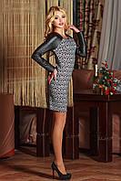 Платье черно-белый узор,рукав кожа