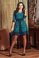 Платье бирюзовый принт на синем