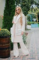 Нежно-розовое женское кашемировое пальто под пояс со съемными меховыми карманами. Арт-7283/80, фото 1