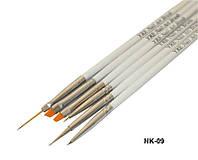 Набор кистей для рисования (6 шт.бел ручка)