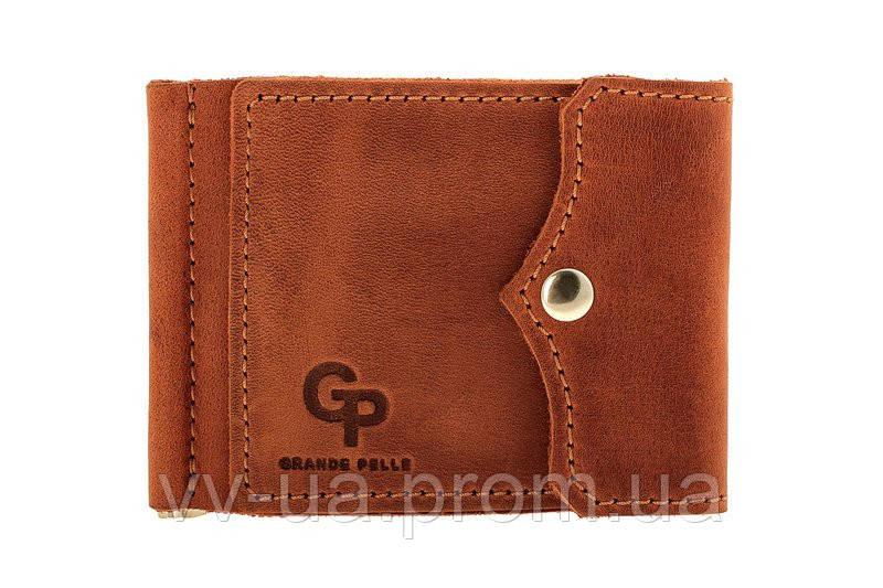 Зажим для денег Grande Pelle на кнопке, терракота, кожа (110123)
