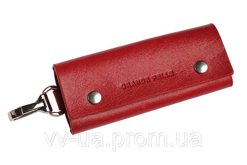 Ключница Grande Pelle на кнопках, глянец, красная, кожа