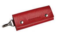 Ключница Grande Pelle на кнопках, глянец, красная, кожа, фото 1