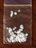 Декор для ногтей, снежинка (серебро)