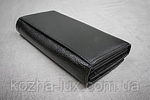 Кошелек классический чёрный B-826, натуральная кожа , фото 2
