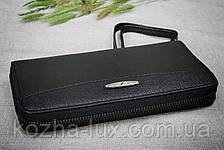 Кошелек на молнии кожаный чёрный B-9026, натуральная кожа, фото 3