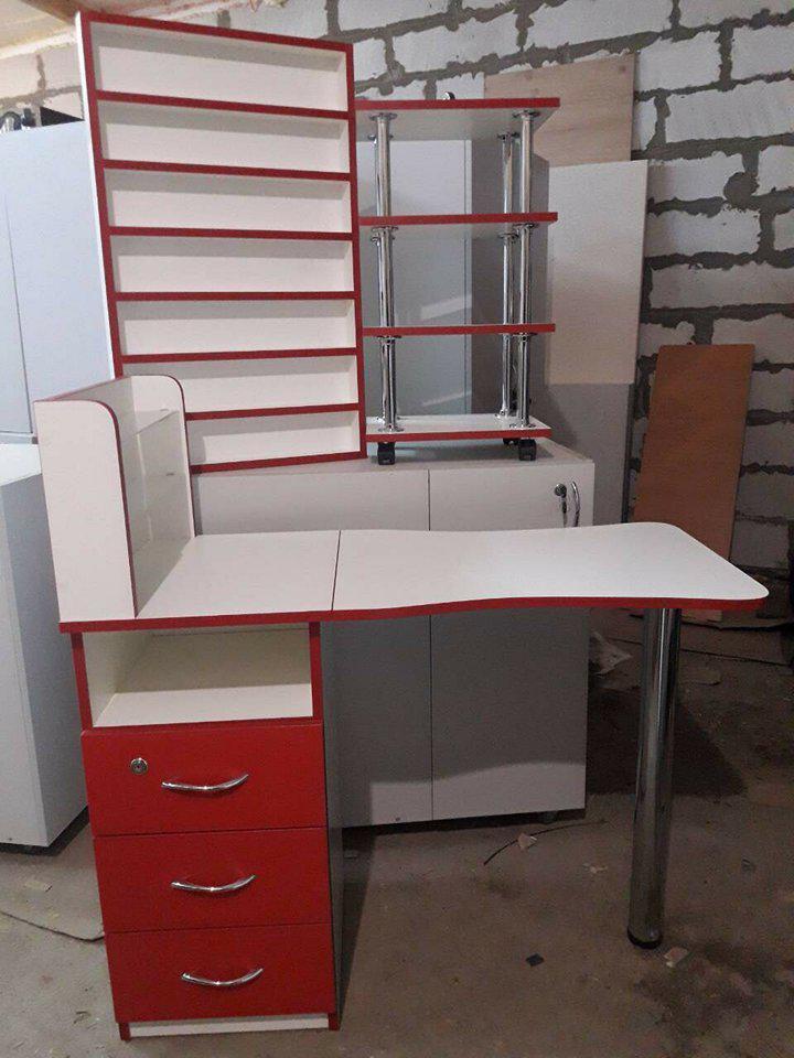 Маникюрный стол, этажерка и полка для лаков (комплект)