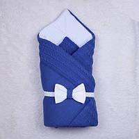 """Зимний вязанный конверт-одеяло """"Глория"""", синий, фото 1"""