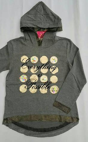 Худи с капюшоном для девочек 128,140,152,164 роста Zelish Серый, фото 2