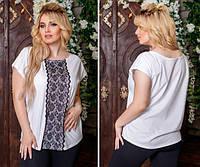 Женская футболка с кружевом код 0612, Размеры: 1(42-46); 2(48-52); 3(54-60), фото 1