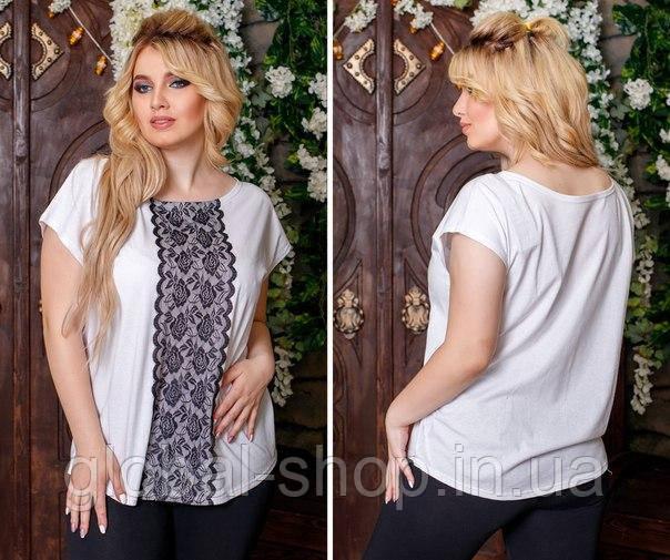 Женская футболка с кружевом код 0612, Размеры: 1(42-46); 2(48-52); 3(54-60)