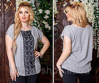 Женская футболка с кружевом код 0612, Размеры: 1(42-46); 2(48-52); 3(54-60), фото 3