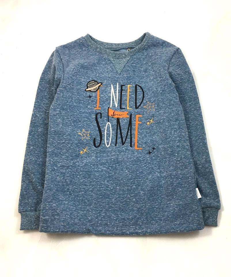 Джемпер на флисе для мальчика Бемби Космос, серо-голубой ФБ563 (рост 122)