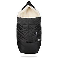 Конверт детский зимний на овчине в коляску и санки Тренд, черный