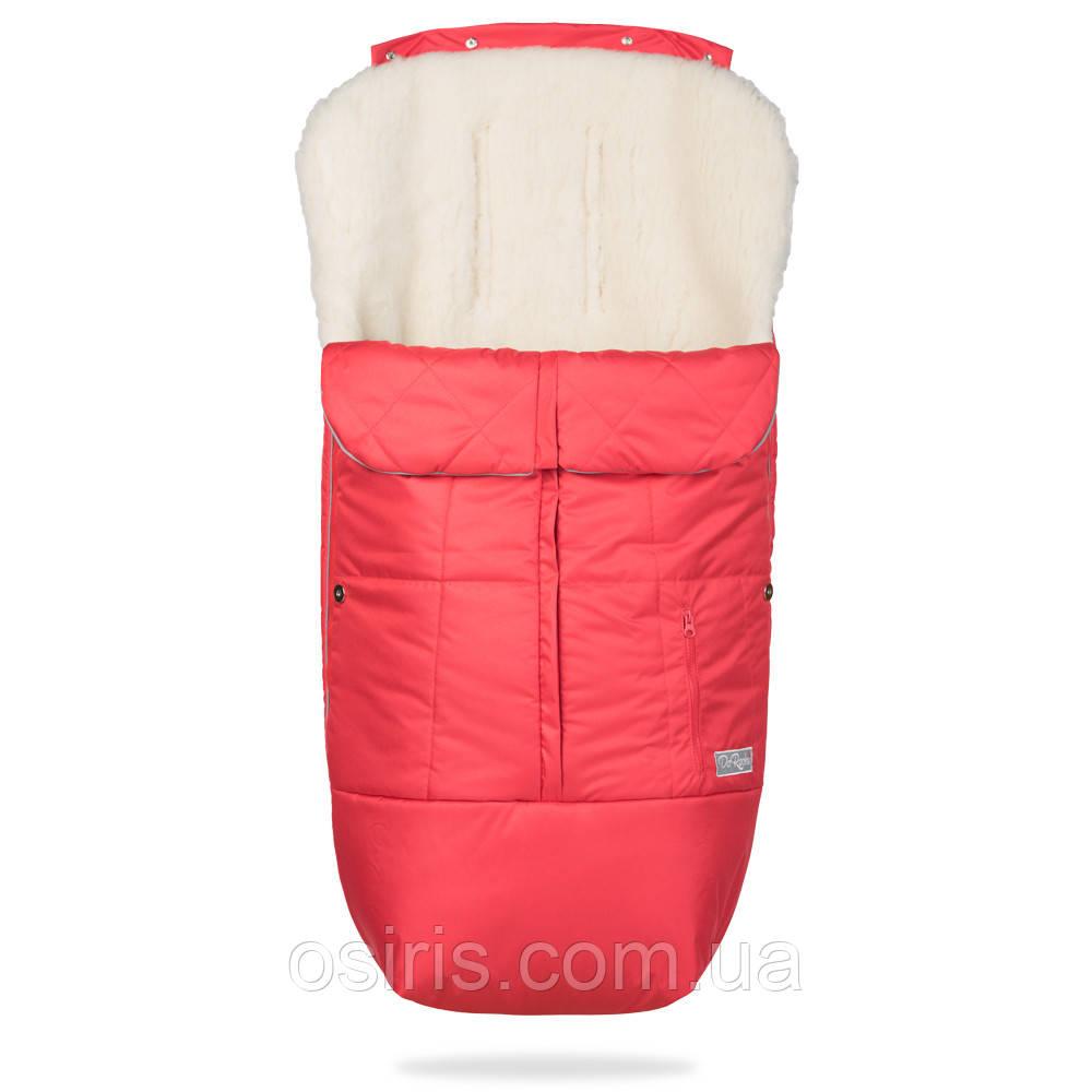 Конверт детский зимний на овчине в коляску и санки Тренд, красный