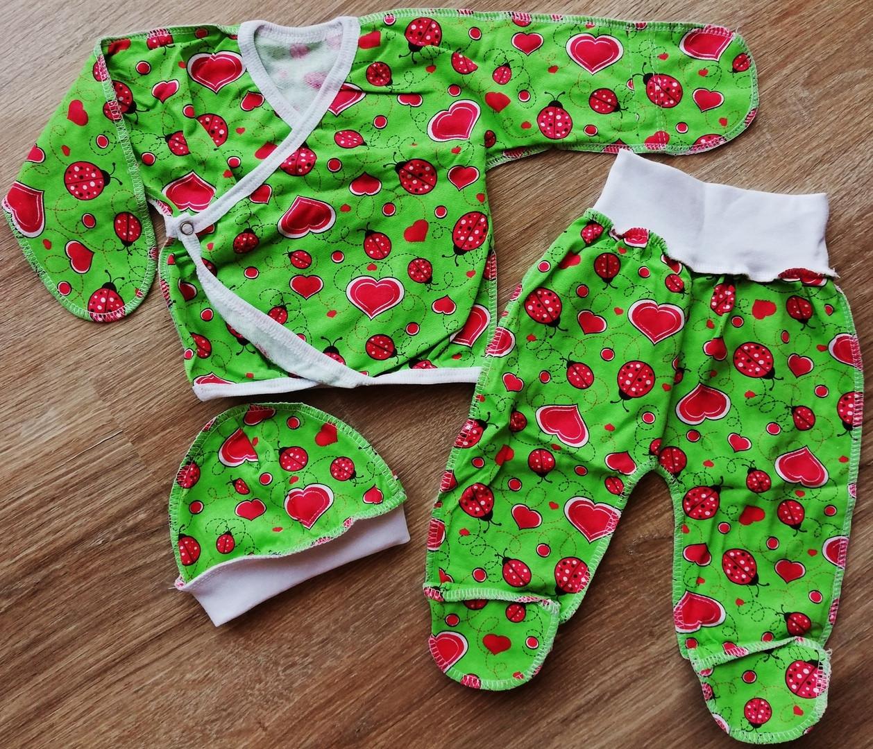 Ясельний набір для пологового сорочечка, шапочка і повзунки для новонароджених