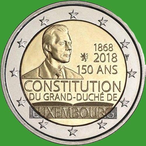 Люксембург 2 евро 2018 г. 150-летие Конституции Люксембурга . UNC