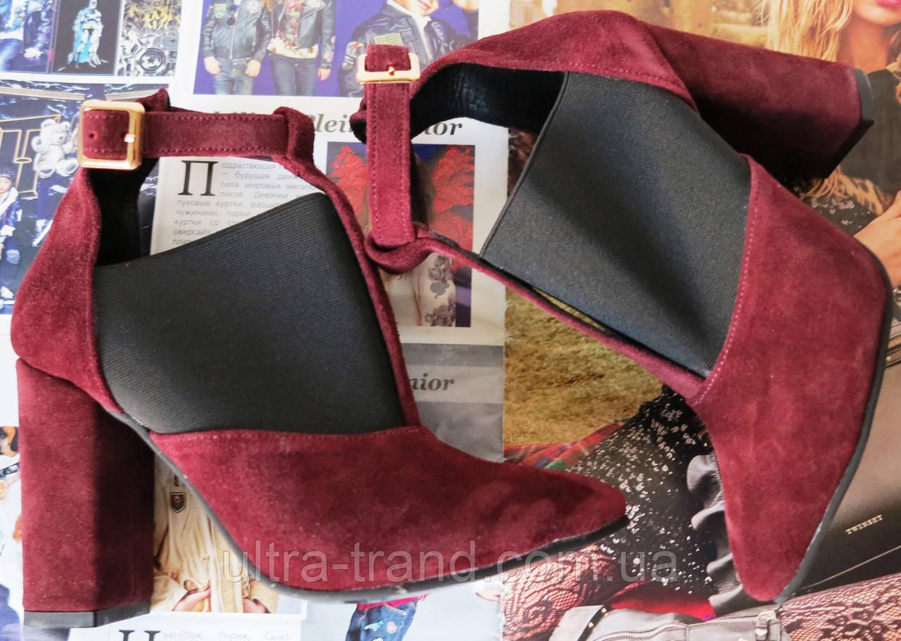 Туфли женские с резинкой на каблуке 10 см натуральный замш цвета марсала ! Ботильоны Mante Rio
