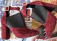Туфли женские с резинкой на каблуке 10 см натуральный замш цвета марсала ! Ботильоны Mante Rio, фото 1