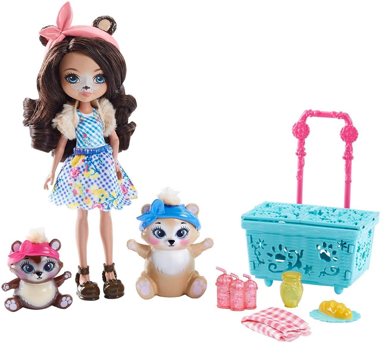 Кукла Enchantimals Энчантималс Брен Мишка с медвежатами Пикник на природе Paws for a Picnic Doll