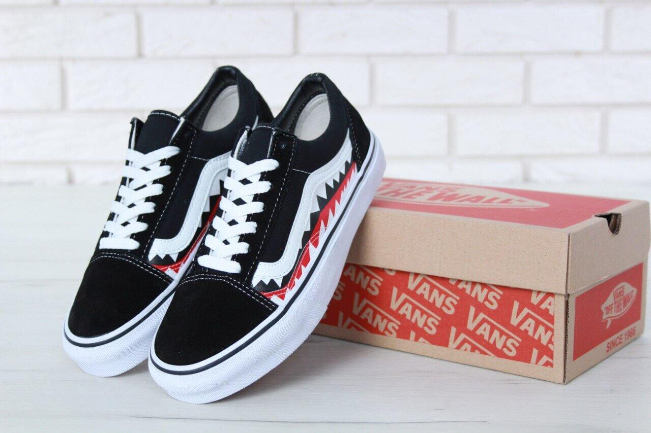31db80c5 Кеды Vans Old Skool Shark Black White - Интернет магазин обуви «im-РоLLi»