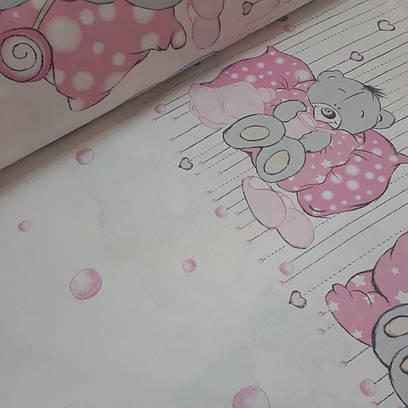 Ткань польская хлопковая, мишка с медом на белом