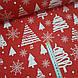 Ткань новогодняя польская хлопковая, белые елочки и снежинки на красном, фото 2