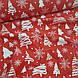 Ткань новогодняя польская хлопковая, белые елочки и снежинки на красном, фото 4